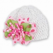 Pink Party Celebration Bow on Crochet Hat
