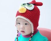 Lovely Baby Boy Girl Kids Warm Beanie Earmuff Knitting Bird Hat Cap Red