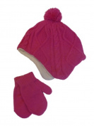 Faded Glory Infant & Toddler Girls Pink Cable Knit Beanie & Mittens Trapper Hat