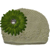 Ivory Adorable Kufi Hat with Lime Daisy Flower