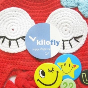 KF Baby Animal Beanie Hat, with Ear Flaps and Braids, Red Hot Chilli Kitty + FREE Gift of 4 Pinback Buttons