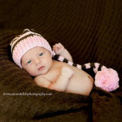 Melondipity Pink and Brown Oh Baby It's Cold Outside Girls Crochet Baby Hat - Super Soft and Cute 100% Cotton Beanie Stocking Cap - Great for Christmas Holidays - One Size - Newborn and Infant