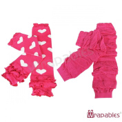 Wrapables Colourful Baby Leg Warmers (Set of 2) - Hearts & Ruched