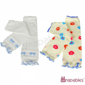 Wrapables Colourful Baby Leg Warmers (Set of 2) - Flowers & Bows Blue