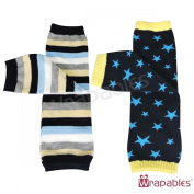 Wrapables Colourful Baby Leg Warmers (Set of 2) - Stars & Stripes Blue