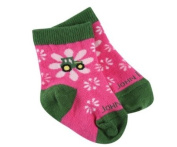 John Deere Infant/Toddler Girls Flower Tractor Socks 12-24 Months