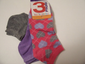 Max Grey Kid's Socks 3 Pair ~ Size 6-8, Solid Grey, Solid Violet, Pink with Hearts