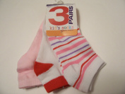 Max Grey Kid's Socks 3 Pair ~ Size 9-11, Light Pink, White with Red, White with Stripes