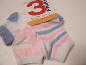 Max Grey Kid's Socks 3 Pair ~ Size 4-6, White with stripes, White with Blue, Light Pink with White