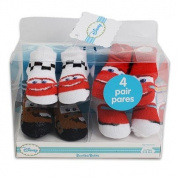 4 Pairs Disney Cars Baby Socks Baby Booties Gift Box Set Infant Size 0-6 Months