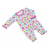 Maison Chic Girl Polka Dot Footie with Ruffles, Pink