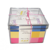 Noa Lily Small Layette Gift Basket, Pink Hearts, 6 Months
