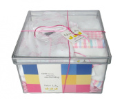 Noa Lily Medium Layette Gift Basket, Pink Toile, 6 Months