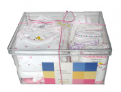 Noa Lily Large Layette Gift Basket, Pink Hearts, 6 Months