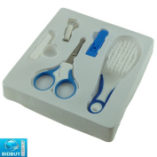 Bid-Buy-Direct Brand New Blue Baby Grooming Set - With All 5 Function - Complete With Safety Scissors, Nail Clipper, Soft Bristles Brush