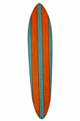 Vintage Surfboard Wooden Growth Chart - Blue & Orange Stripe