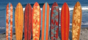 Vintage Surfboard Wooden Growth Chart - Honey Maple Stripe
