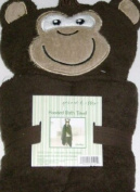 Peanut & Ollie Hooded Monkey Bath Towel Child Size 100% Cotton Brown Gorillia