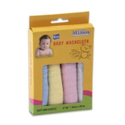 4pc 20.3cm Assorted Cotton Soft & Gentle Baby Washcloth for Babies