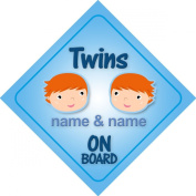 Twins Boys On Board Personalised Car Sign New Baby Boy / Child Gift / Present