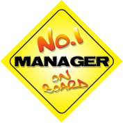 No.1 Manager on Board Novelty Car Sign New Job / Promotion / Novelty Gift / Present