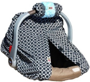 Padalily Infant Car Seat Canopy Cover Shade - Ring Dot Black