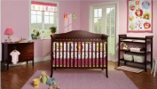 Baby Mod - Bella 4-in-1 Fixed Side Crib, Changing Table and Clothing Organiser, Espresso
