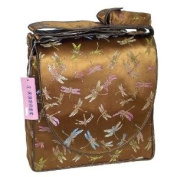 I Frogee Brocade Nappy Bags in Antique Gold Dragonfly Pattern