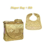 I Frogee Brocade Nappy Bag & Bib Set in Gold Fortune Flower Print