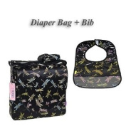 I Frogee Brocade Nappy Bag & Bib Set in Black Dragonfly Print