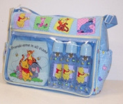 Disney Pooh Baby Large Nappy Bag +3 Bottles 270ml