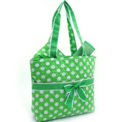 Quilted White Polka Dotted 3Pc Nappy Bag w/ Ribbon Accents Green