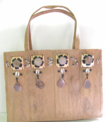 Eco Friendly Coconut Skin, Coconut Shell, Flowers and Sea Shells Handbag Made in the Philippines