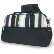 Baby Essentials Microfiber Striped Nappy Bag in Black