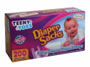 Teeny Toes Baby Disposable Nappy Sacks, 200 Count