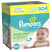 Pampers Natural Clean Baby Wipes, Refill Pack, Unscented, 504 Ct