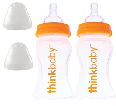 Thinkbaby 2 Pack BPA Free Vented Baby Bottles, 270ml, Natural/Orange