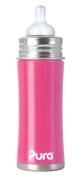 Pura Stainless Kiki Infant Bottle Stainless Steel, 330ml, Pretty Pink