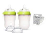 Comotomo Natural Feel Baby Bottle SET, Double Pack Green, 250ml (8 oz) PLUS Extra Nipples Packs - MEDIUM Flow & Variable Flow