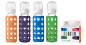 Lifefactory Glass Baby Bottles 4 Pack Boy Colours