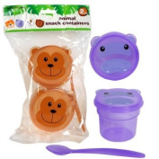 Animal Snack Containers ~ 2 Cups with Lids and a Spoon