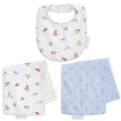 FAO Schwarz Reversible Bib and Burp Cloth Set - Toy Box