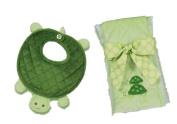 Bearington Bears Tiggles Turtle Baby Bib and Burp Cloth Set