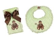 Bearington Bears Giggles Monkey Baby Bib and Burp Cloth Set