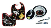 Sugarbooger Covered Bowl, Silverware, and 2 Bibs Set-Ahoy Matey Pirate