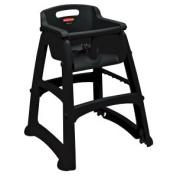 Rubbermaid FG780508BLA Black Sturdy Chair Restaurant High Chair with Wheels