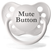 Personalised Pacifiers Mute Button Pacifier in White