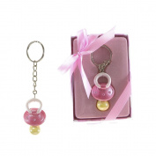 "Lunaura Baby Keepsake - Set of 30.5cm Girl"" Baby Pacifier with Crystals Key Chain - Pink"