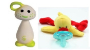 Chan Pie Gnon Teether (Yellow) and Wubbanub Yellow Duck Pacifier with Bonus Dainty Baby Reusable Bag