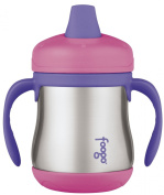 Thermos Foogo Leak-Proof SS 210ml Sippy Cup with Handles, Pink, 6 Months